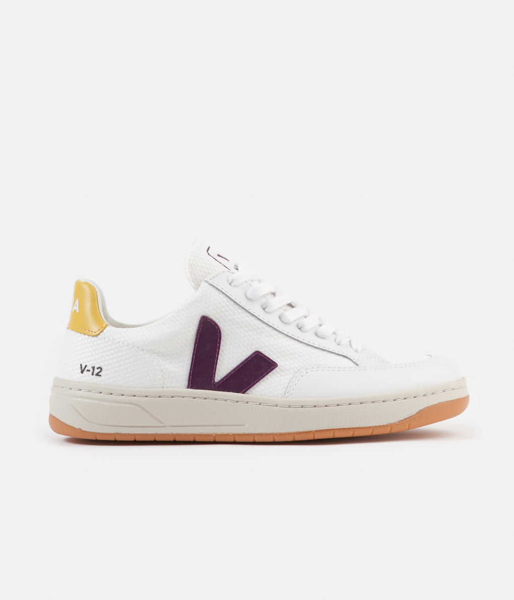 Veja Womens V-12 B-Mesh Shoes - White / Berry / Gold / Yellow