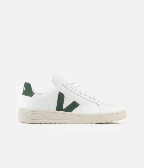 Veja Womens V-12 Leather Shoes - Extra White / Cyprus