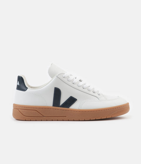 Veja Womens V-12 Leather Shoes - Extra White / Nautico / Gum Sole