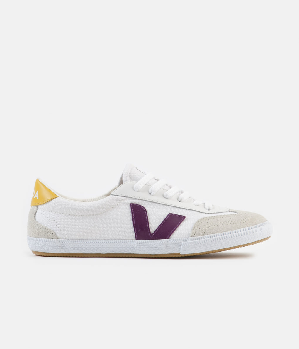 Veja Womens Volley Canvas Shoes - White / Berry / Gold / Yellow