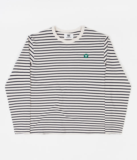 Wood Wood Mel Stripe Long Sleeve T-Shirt - Off White / Navy