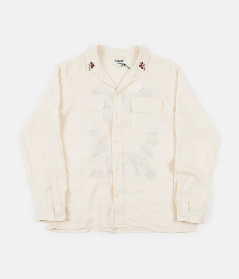 YMC Embroidered Feathers Shirt - Ecru