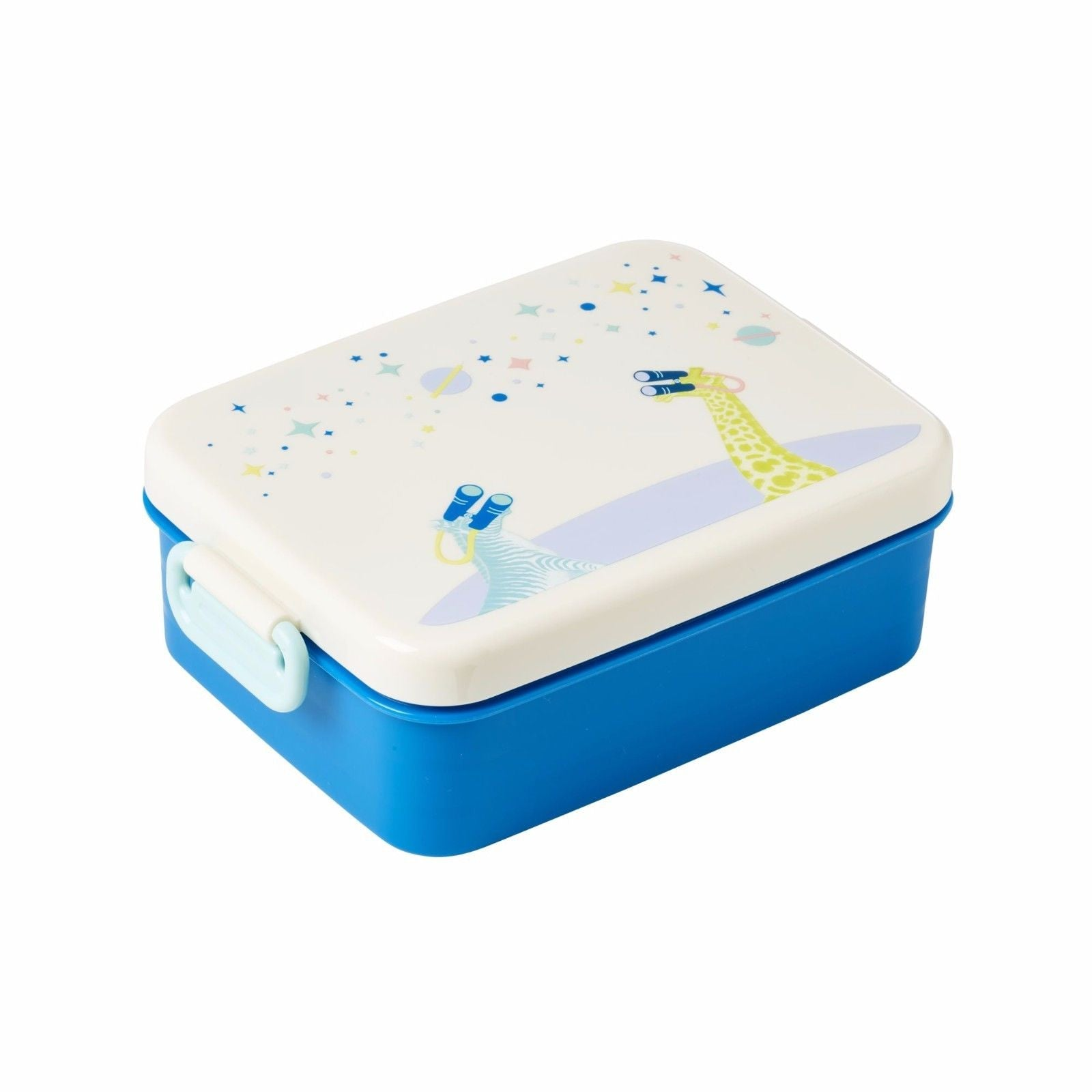 RICE DENMARK Large Lunchbox with Divider and Universe Print - Blue