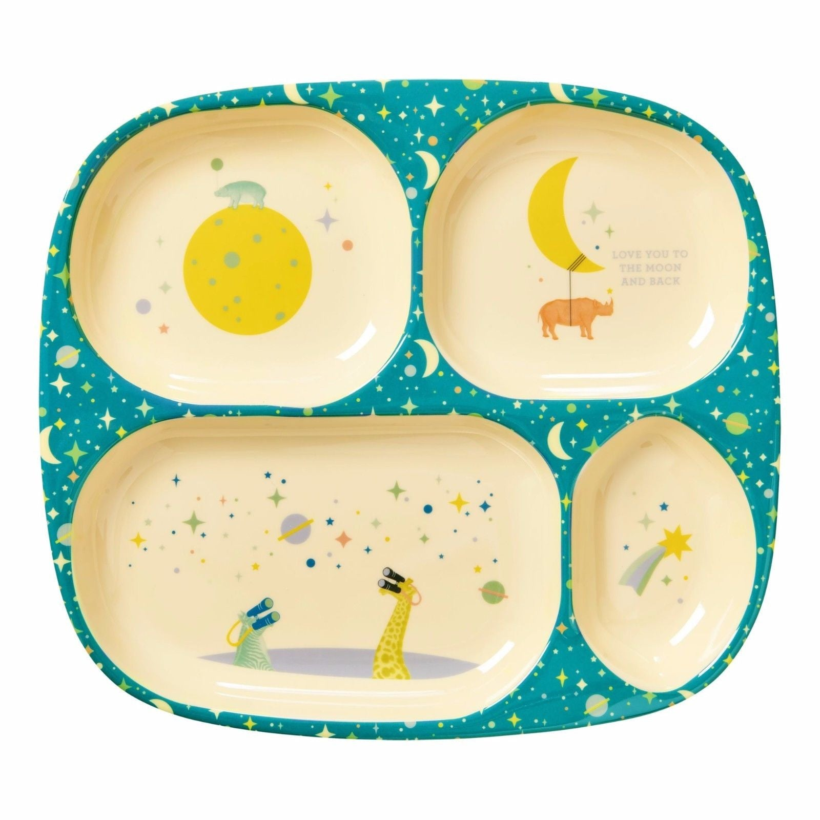RICE DENMARK Kids 4 Room Melamine Plate with Universe Print - Blue