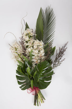 Real Florist. Real Flowers. Melbourne Online Delivery. Same Day | Elegant Cymbidium - Premium Funeral Sheaf