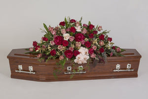 Real Florist. Real Flowers. Melbourne Online Delivery. Same Day | Glamorous Girl - Premium Casket & Coffin Flowers
