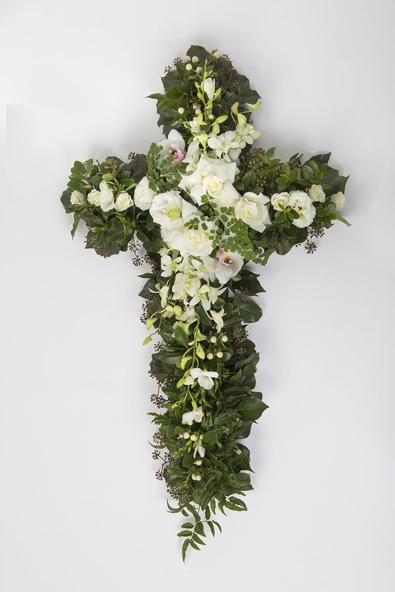 Green And White Premium Funeral Cross Mordialloc Florist