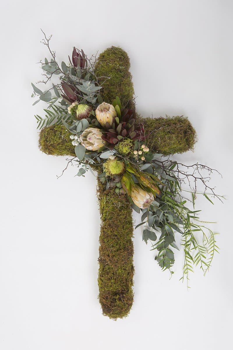 Real Florist. Real Flowers. Melbourne Online Delivery. Same Day | Mossed Native Premium Funeral Cross