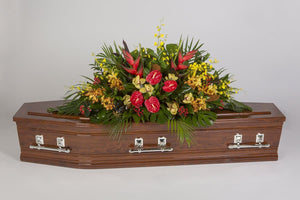 Real Florist. Real Flowers. Melbourne Online Delivery. Same Day | Totally Tropical - Premium Casket & Coffin Flowers