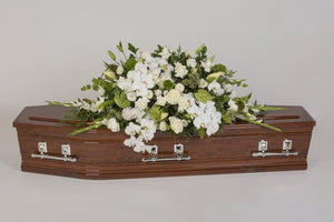 Real Florist. Real Flowers. Melbourne Online Delivery. Same Day | White Wonderland - Premium Casket & Coffin Flowers