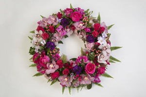 Real Florist. Real Flowers. Melbourne Online Delivery. Same Day | Pink Vibrant Premium Funeral Wreath