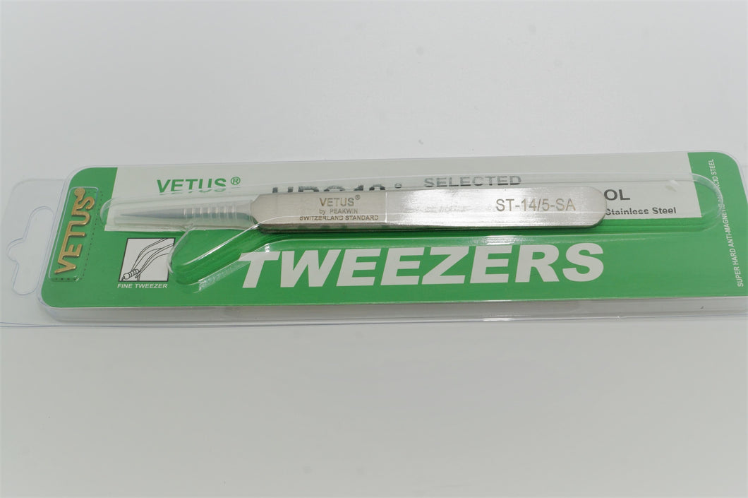 Vetus Swiss Standard Tweezers - Watch Tweezers - ST14 Fine Tip - No5-Welwyn Watch Parts