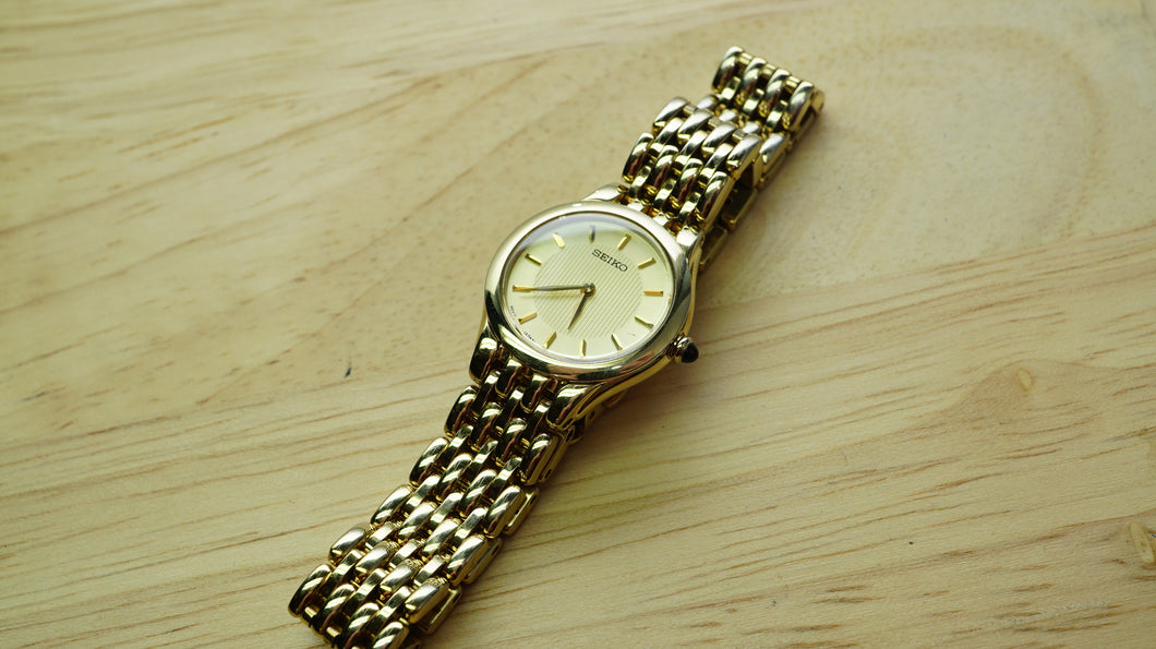 Seiko Gold Plated Ladies Watch - Sapphire Glass - Model 1N00-0BV0-Welwyn Watch Parts