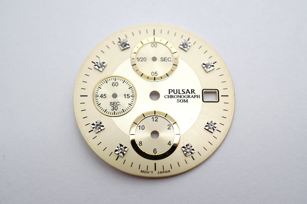 Pulsar Champagne Swarovski Crystals Chrono 100m Dial - 29.5mm-Welwyn Watch Parts