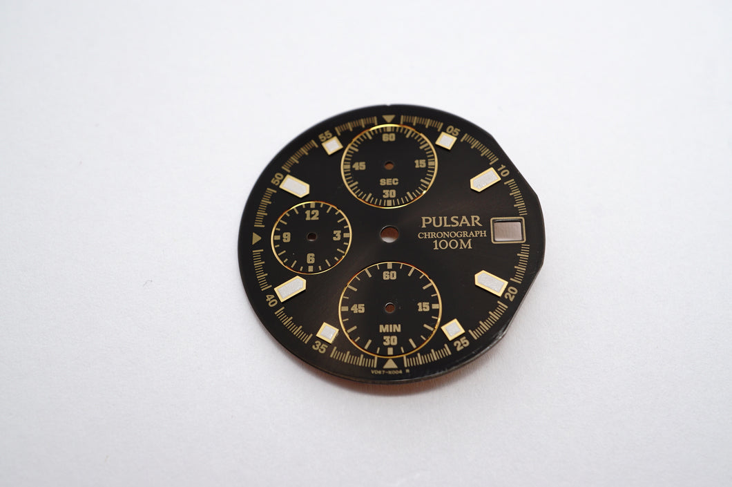 Pulsar Black & Gold Chrono 100m Dial - 29mm-Welwyn Watch Parts