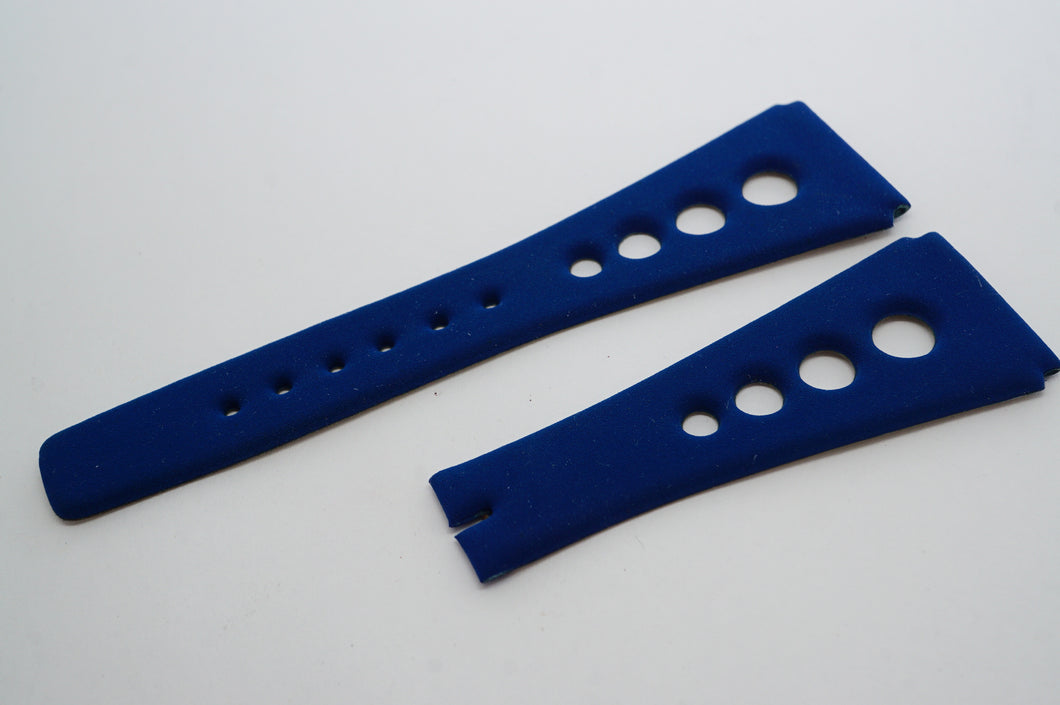 Corfam Grand Prix - Blue Suede - NOS Original - R22mm-Welwyn Watch Parts