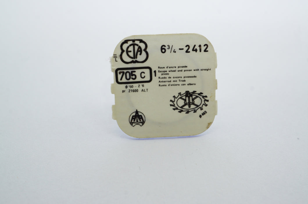 ETA - Cal 2412 - Escape Wheel - Part # 705c-Welwyn Watch Parts