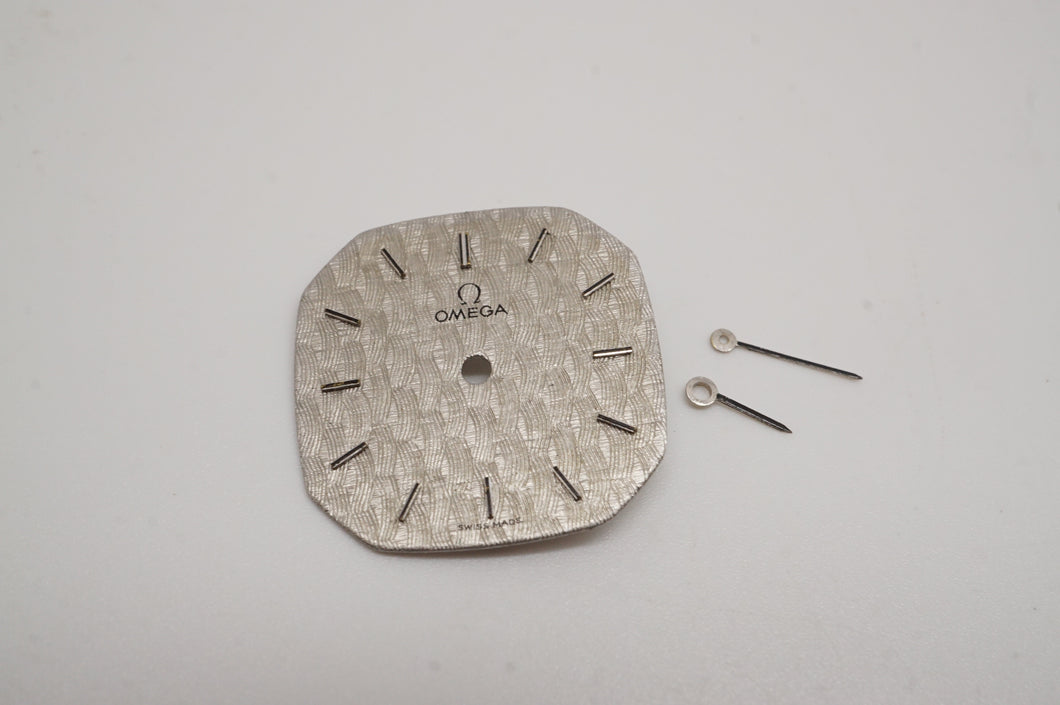 Omega - Calibre 625 - Dial & Hands -Silver Cloth Pattern - 19x19mm-Welwyn Watch Parts
