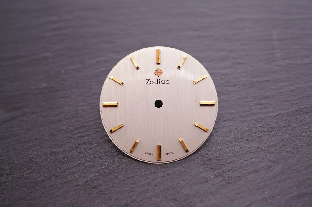 Zodiac Dial - Silver w Gold Batons - 27.5mm-Welwyn Watch Parts