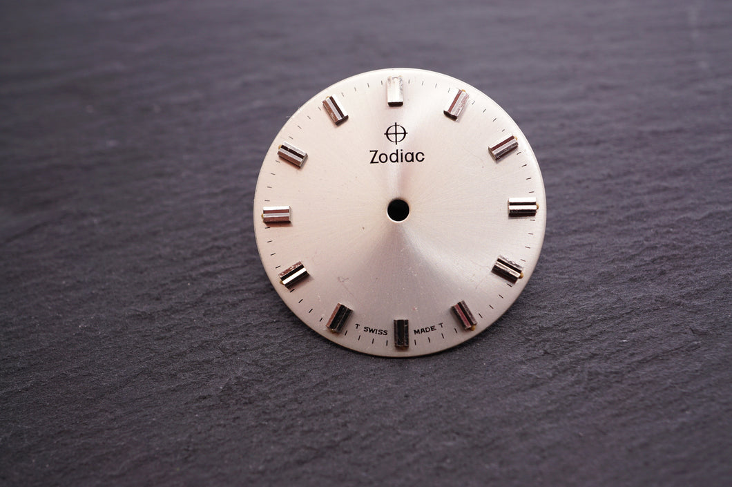 Zodiac Dial - Silver Plain w Batons - 27mm-Welwyn Watch Parts