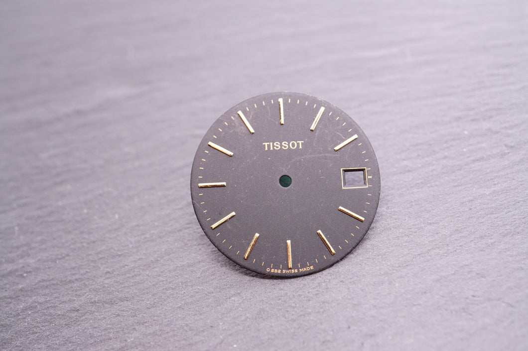 Tissot - Dial - Matt Black w Gold Batons Date - Used 28mm-Welwyn Watch Parts