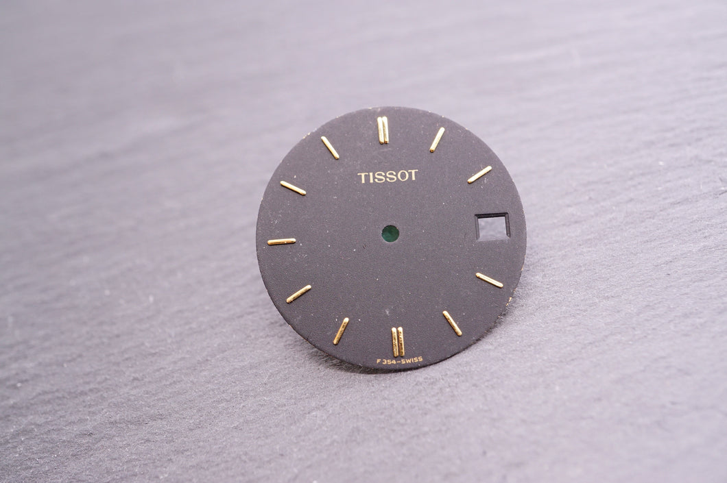 Tissot - Dial - Matt Black w Gold Batons Date No Track- Used 27mm-Welwyn Watch Parts