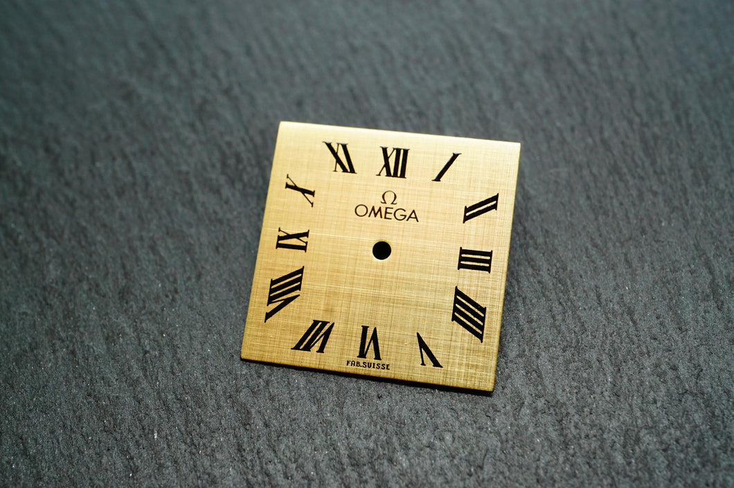 Omega Gold Cloth Square Dial - Roman Numerals - 20x20mm-Welwyn Watch Parts