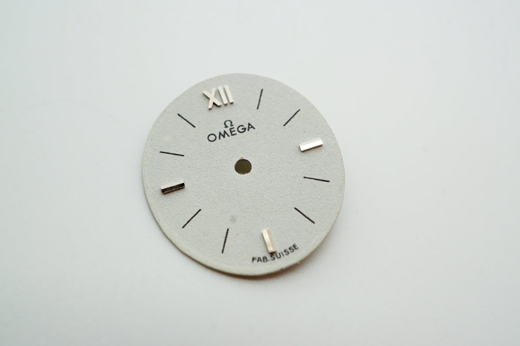 Omega White Dial w Silver Roman 12 - 19x16mm-Welwyn Watch Parts