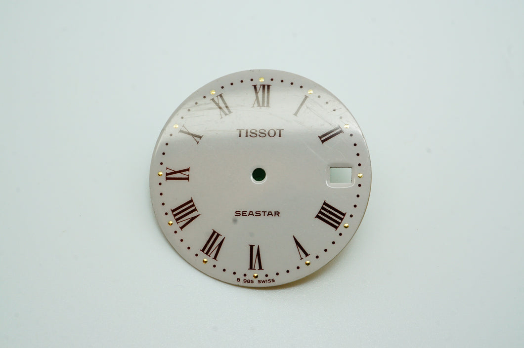 Tissot Seastar White Enamel Dial Roman Numerals - Used - 28mm-Welwyn Watch Parts