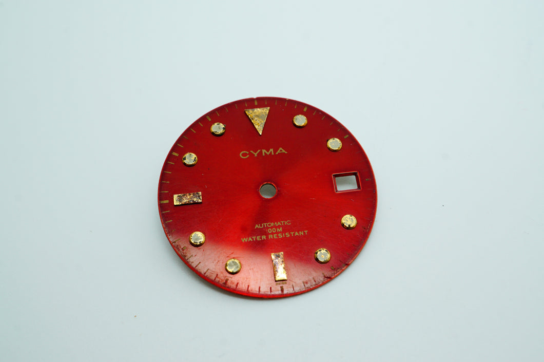 Cyma Divers Dial Red - ETA 2824 ? - Used/Poor-Welwyn Watch Parts