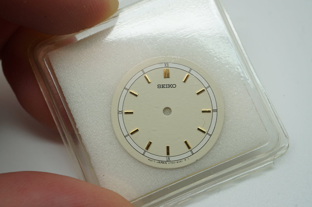 Seiko Ladies Quartz Dial - Model # V700-6461 - Cream w Gold Baton & Arabic-Welwyn Watch Parts