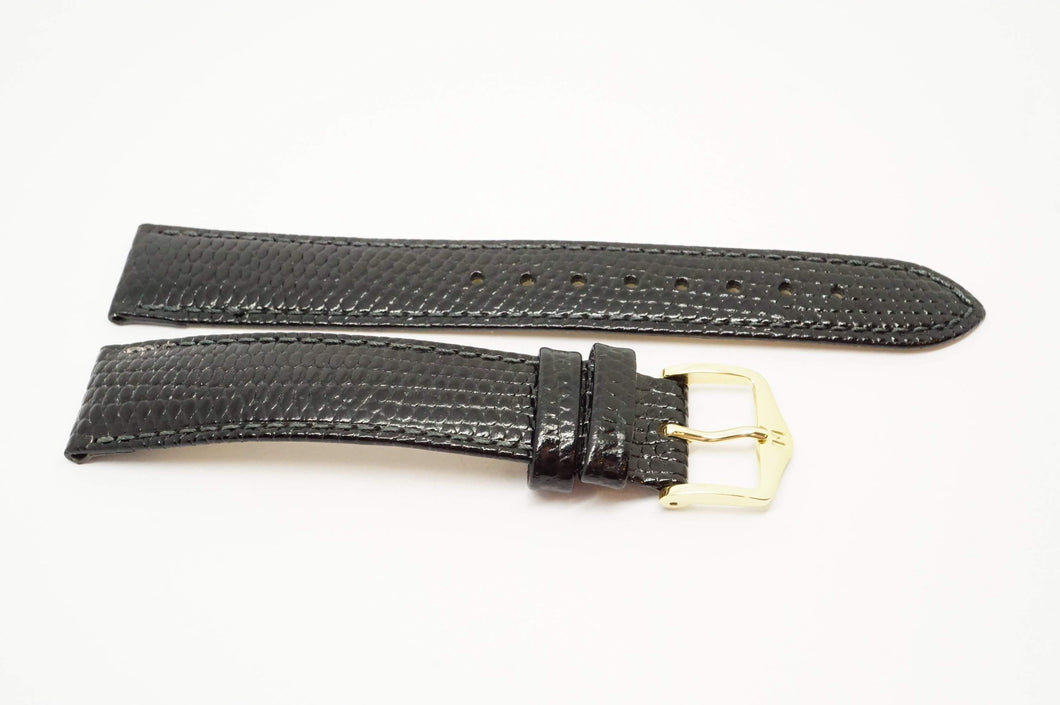 Hirsh Rainbow Black Leather Strap - Lizard Grain w gold Plated Buckle 17mm-Welwyn Watch Parts