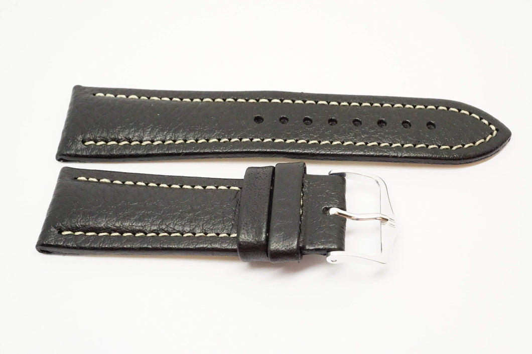 Hirsh Buffalo Black Leather Strap - 22mm - NOS - Chrome Buckle-Welwyn Watch Parts