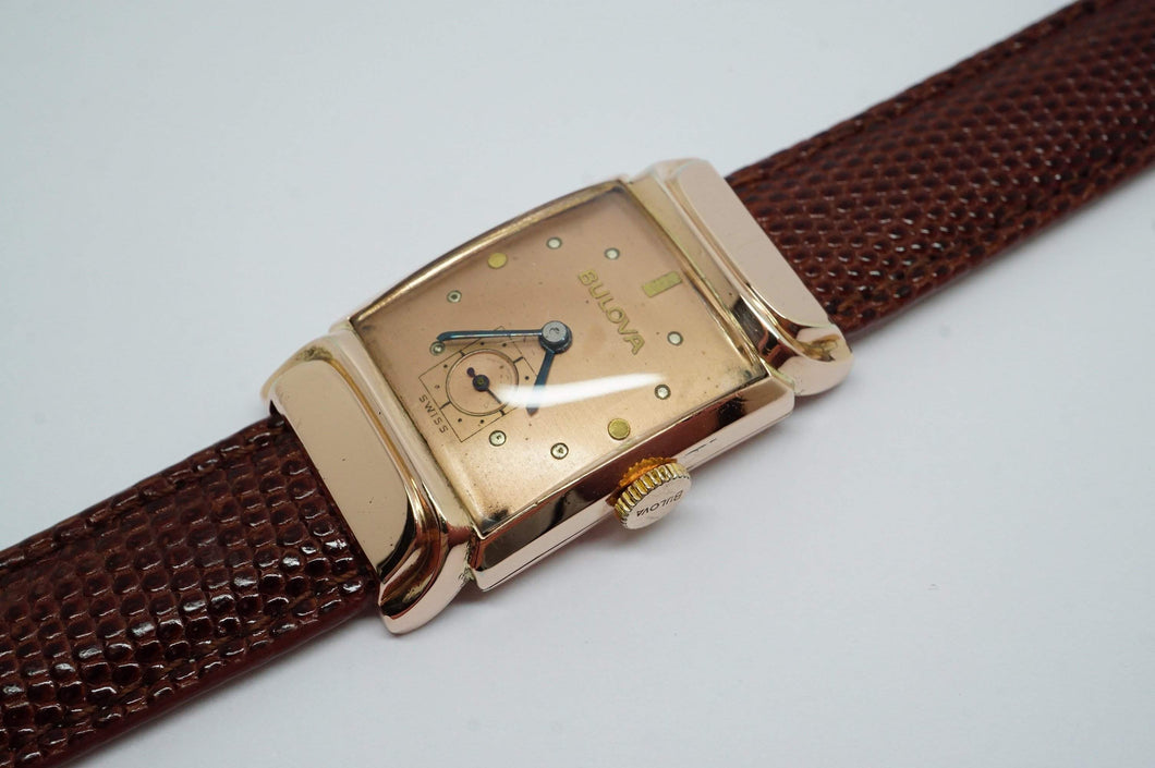Bulova 14K Rose Gold Filled Wristwatch - Manual Winding - Vintage-Welwyn Watch Parts