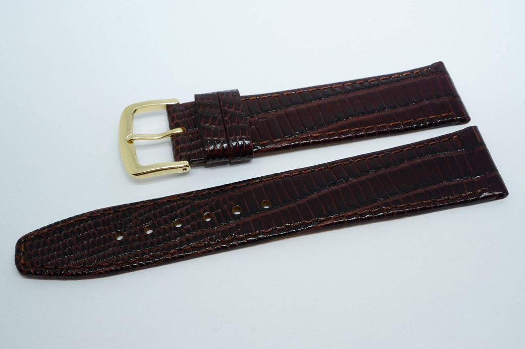 Calf Leather Lizard Grain Strap - Dark Brown w GP Buckle - New !-Welwyn Watch Parts