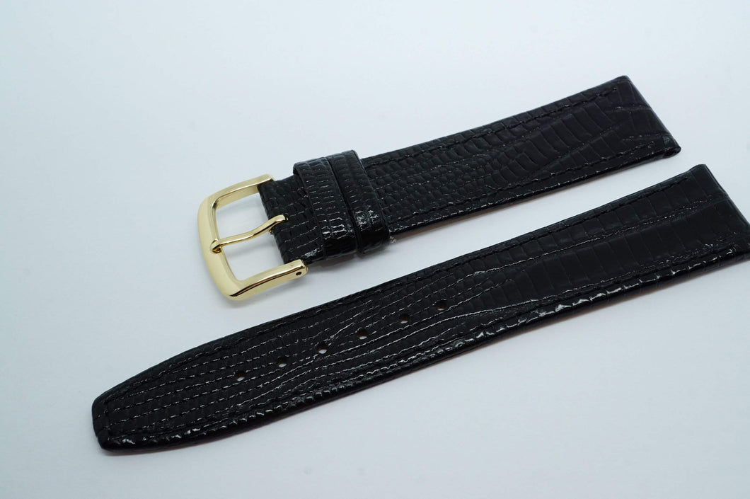 Calf Leather Lizard Grain Strap - Black w GP Buckle - New !-Welwyn Watch Parts