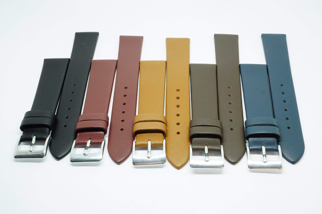 Calf Leather 18mm Watch Straps - Various Colours - Steel Buckle - New !-Welwyn Watch Parts