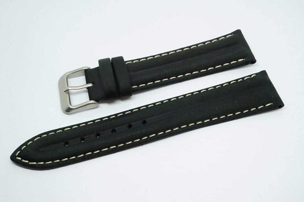 Black Ribbed Strap w White Stitching - Steel Buckle - New !!-Welwyn Watch Parts