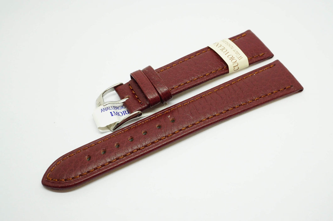 Morellato Italian Leather Strap - Burgundy/Brown - 20mm-Welwyn Watch Parts