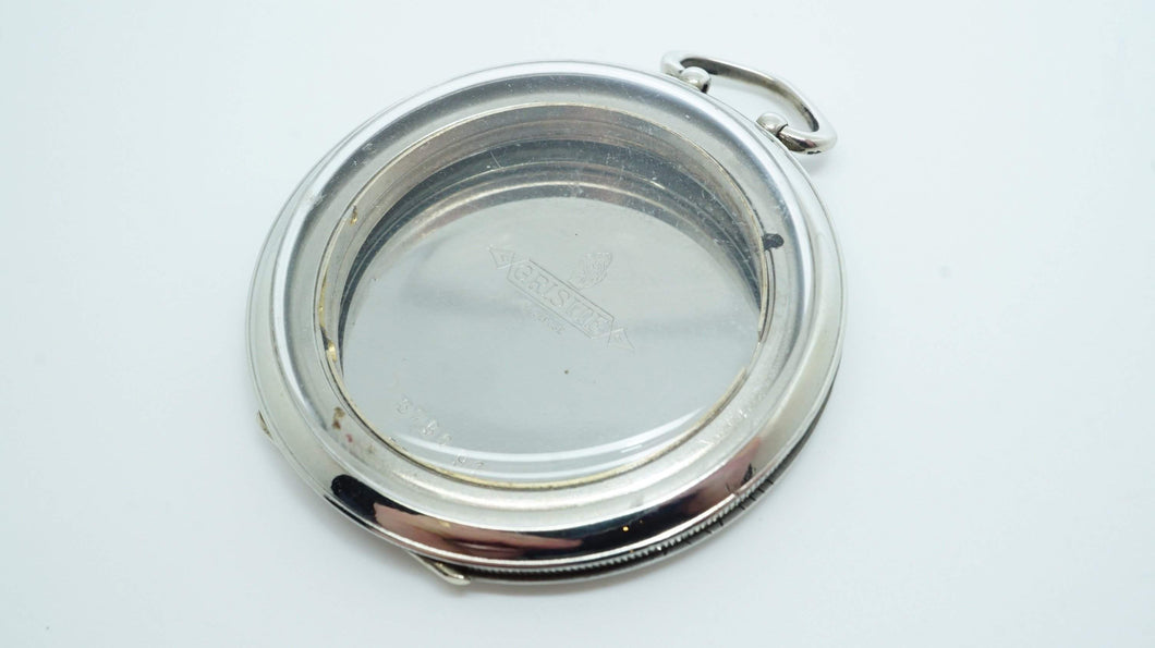 Movado Pocket Watch Case - Grisite Swiss - Stainless Steel-Welwyn Watch Parts