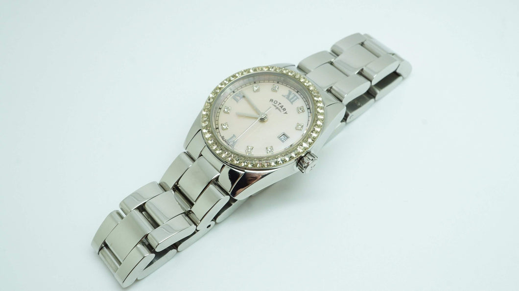 Rotary Ladies Quartz Watch - Mother of Pearl Dial - Swarovski Crystals-Welwyn Watch Parts