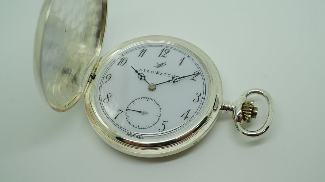 Aerowatch - Sterling Silver Pocket Watch - Swiss Made - 17 Jewel ETA 6498-1-Welwyn Watch Parts