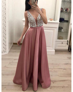 V-Neck Beads Bodice Open Back A Line Long Prom Dress Party