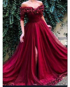 Elegant Long Prom Dresses 2019 Off the Shoulder Burgundy Flowers Formal with Slit