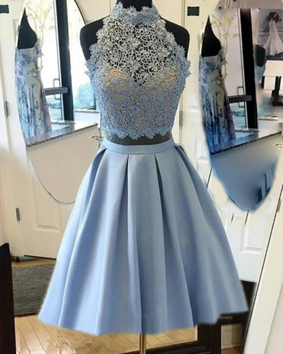 SP05260 Blue Crop Top Halter Short Prom Party Dress Junior Teens Birthday Party Semi Formal Gowns Short Homecoming Dress