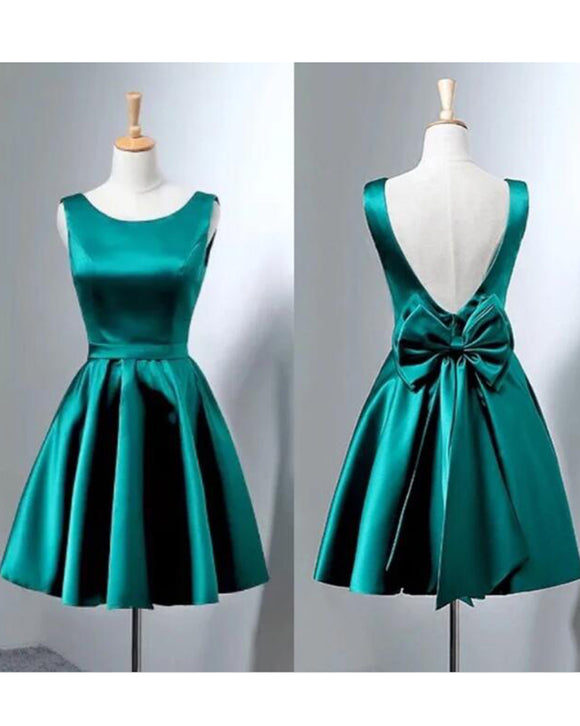 Cute Teal Junior Blue Short Prom Gown  Scoop Neck Gilrs Short Homecoming Dress with Bow Sash SP0430