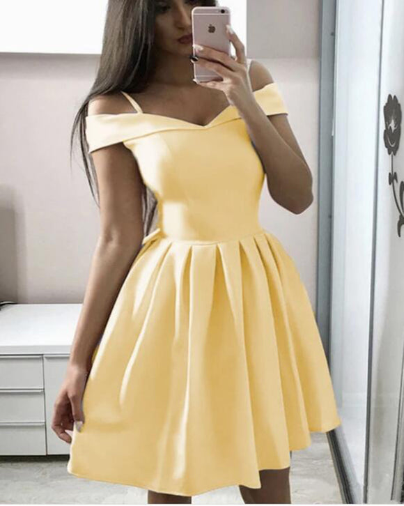 Yellow /White Short Graduation Prom Dresses Homecoming Gowns SP0515