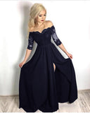 Fancy Black Half Sleeves lace Long Party Formal Prom Dresses for Girls with Slit