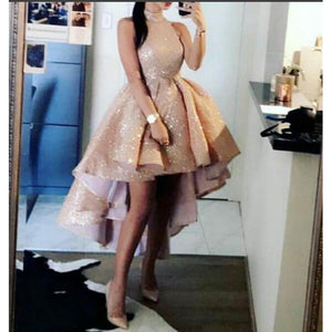Champagne Sequins high Low 2021 Prom Gown Girls Party Dress High Neck  Cocktail Dress