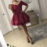 Burgundy Short Cocktail Dress Long Sleeved Party Short Graduation 8th Grade Prom Dress